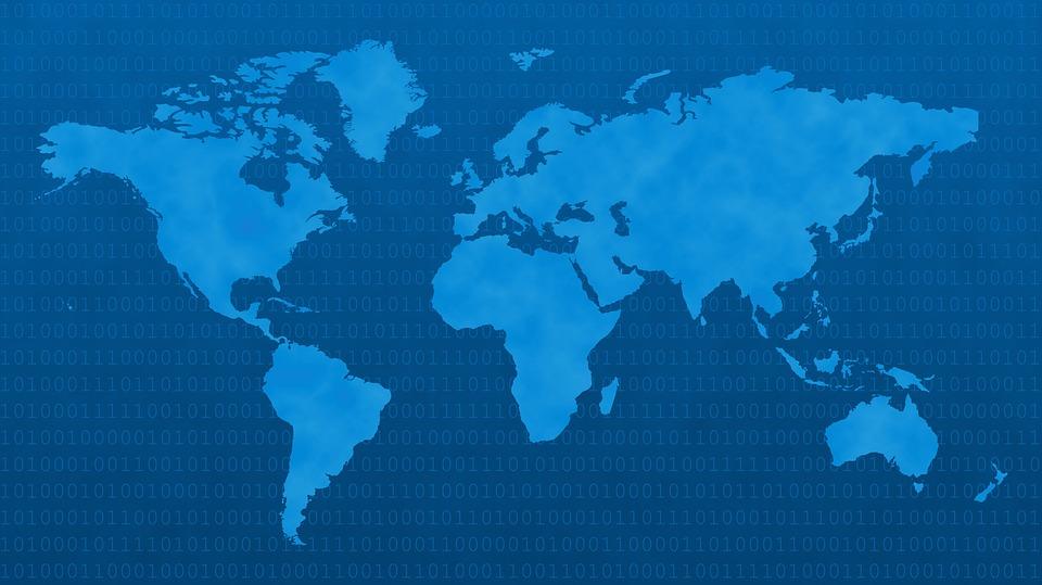 planisphere du monde en bleu